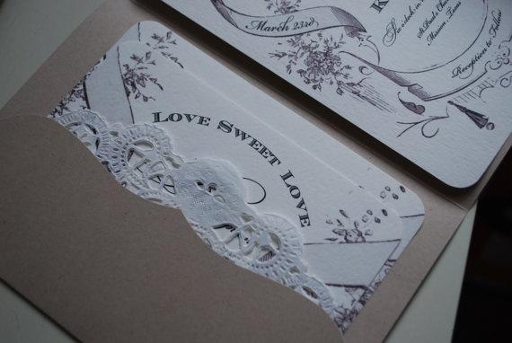 Country Chic Vintage Wedding Invitation Suite Shabby Charm Invitation Set