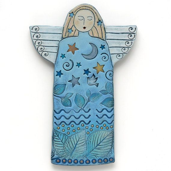 Angel, Handmade Ceramic Angel, Home Decor, wall art, stars, moon                                                                                                                                                                                 Más
