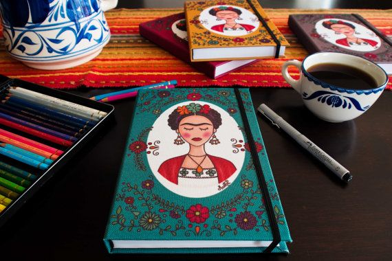 Frida Kahlo with flowers Notebook by MarthaDucoingArt on Etsy