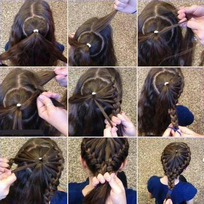 Halo braided hair