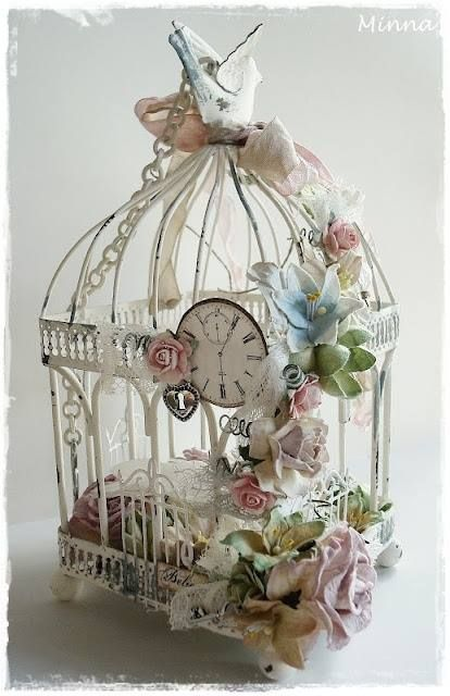 Shabby Chic decorated bird cage . Perfect for wedding decor or just a home accessory  See Www.melodymaison.co.uk for vintage style birdcages