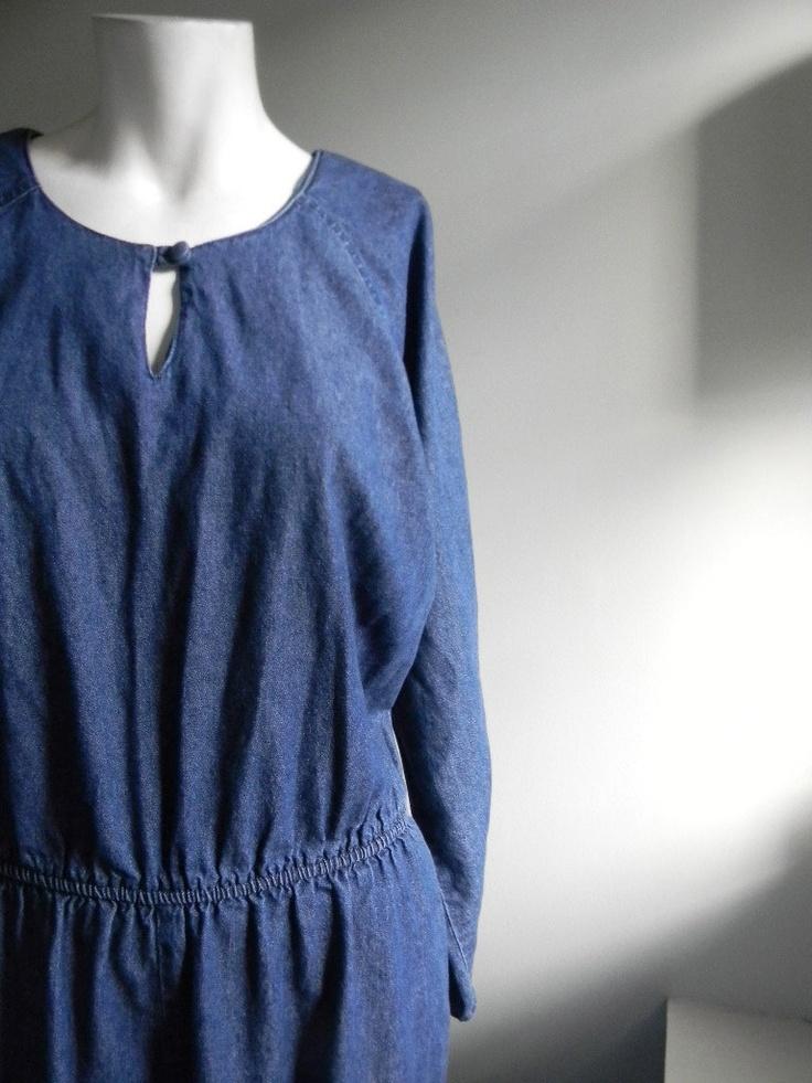 vintage.  80s  Blue Jean Jumpsuit // AVANT GARDE Onsie. $48.25, via Etsy.