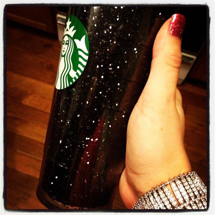 Spray Glue Amp Black Glitter Inside An Insulated Starbucks