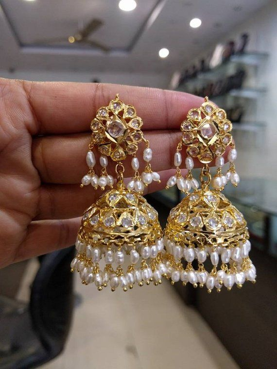 4d56370a0 Traditional & Gorgeous Guttapusalu Jhumkas/Earrings with Uncut Diamonds  Stones (1gm Gold) - Indian J