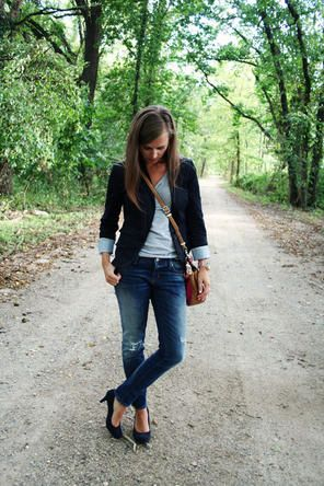 Grey T + Black Blazer + Denim