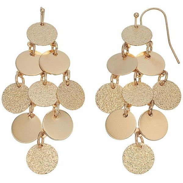 LC Lauren Conrad Textured Disc Kite Earrings (£8.47) ❤ liked on Polyvore featuring jewelry, earrings, gold, lc lauren conrad, earring jewelry, fish hook earrings, fish hook jewelry and disc jewelry