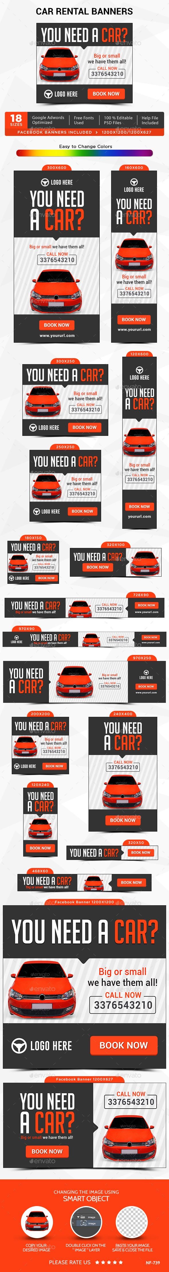 Car Rental Banner & Ads Web Template PSD. Download here: http://graphicriver.net/item/car-rental-banners/13341199?s_rank=1776&ref=yinkira