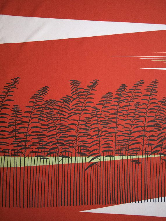 Red Tapestry with Black Trees, Abstracted Vintage Japanese Wall Hanging