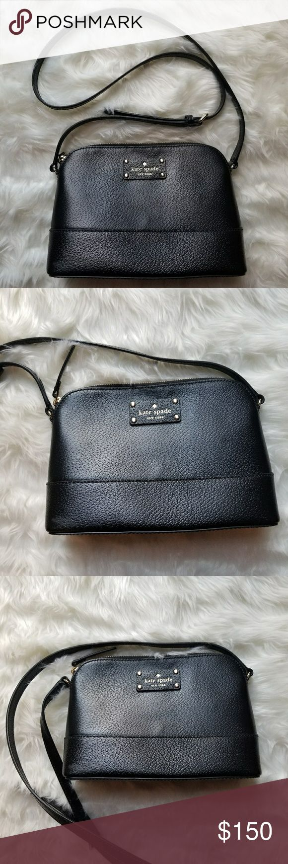 Kate Spade Wellesley Hanna Black Leather Crossbody Kate Spade Wellesley Hanna Black Leather Crossbody.. Used a few times. Excellent condition.. 7' from top to bottom; 9' across. kate spade Bags Crossbody Bags