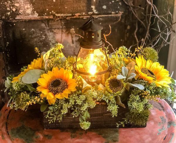 The Marigold Rustic Xl Summer Sunflower Centerpiece Sunflower Centerpieces Rustic Sunflower Centerpieces Sunflower Wedding Centerpieces