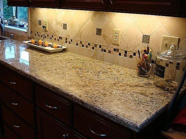 Backsplash With New Venetian Gold | New Venetian Gold Granite Countertops  W/ 6x6 Tile Backsplash