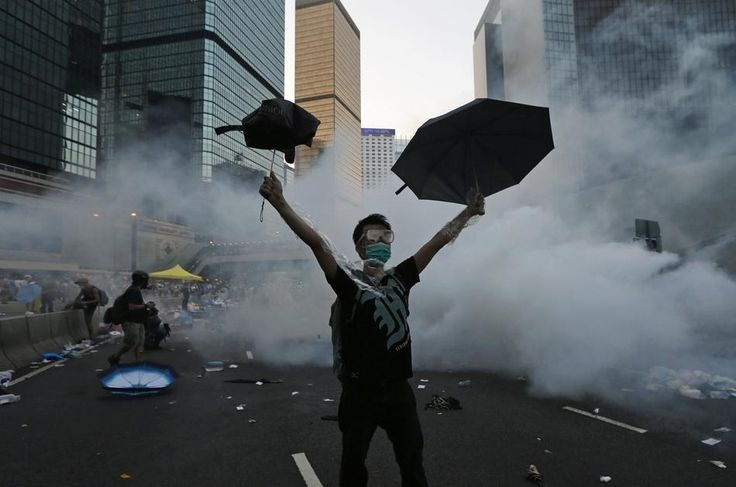 "The umbrella is fast becoming the enduring symbol of the movement, which has been dubbed the Umbrella Revolution. | 33 Extraordinary Pictures Of Hong Kong's ""Umbrella Revolution"""