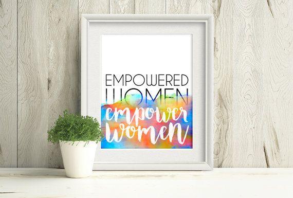 Inspirational Quote, Empowered Women Empower Women, Rainbow Art by PlayfulPixieStudio #inspirationalquote #feministquote #printablewallart