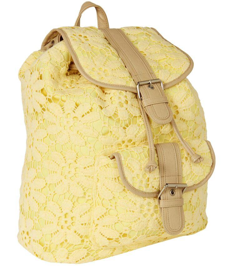 Mochila feminina em renda amarela