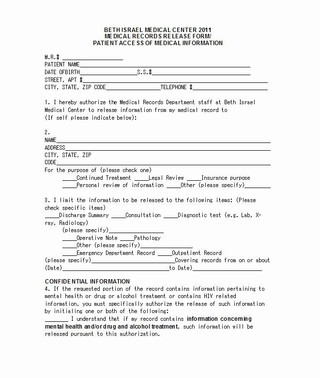 Emergency Room Form Template Lovely 30 Medical Release Form