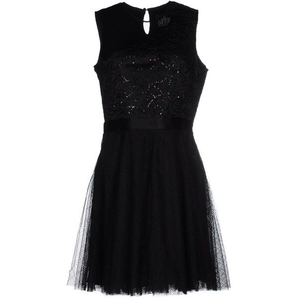 Capitol Couture By Trish Summerville Short Dress ($110) ❤ liked on Polyvore featuring dresses, black, short sequin dress, sequin lace dress, short lace dress, sleeveless dress and short dresses