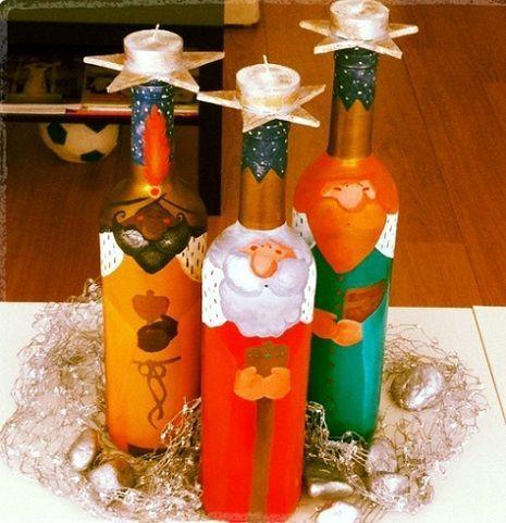 reyes magos en botellas