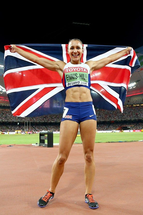 August 23/2015 Jessica Ennis-Hill celebrates winning the Women's Heptathlon 800 metres at the 15th IAAF World Athletics Championships in Beijing.