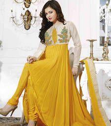 Buy Yellow Georgette Thread Embroidery semi_stitched salwar with dupatta anarkali-salwar-kameez online
