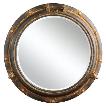 A Dose Of The Sea For Your Interiora 22 Inch Round Antiqued Metal Porthole Framed Wall Mirror In Rust Finish Mounts Flush To Any