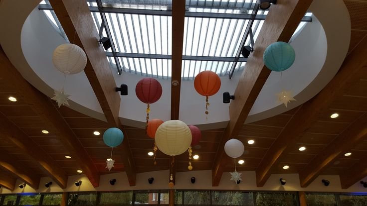 Hanging lantern canopy for the Holy Trinity (C of E ) School Ball. #cookham #decorativelighting #hanging lanterns #eventprofs #lanternlove #berkshire