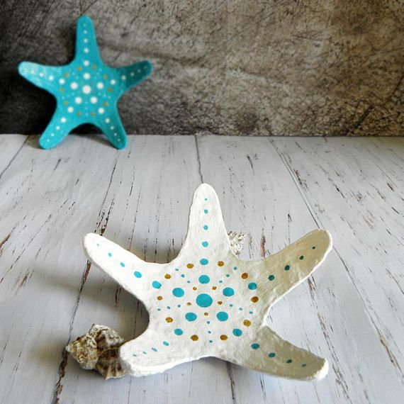 White Starfish Dish Starfish Trinket Dish White Jewelry