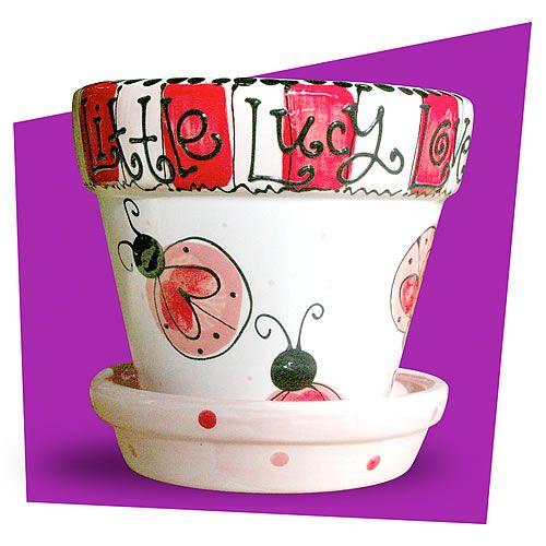 Love bug flower pot fingerprint art #pottery
