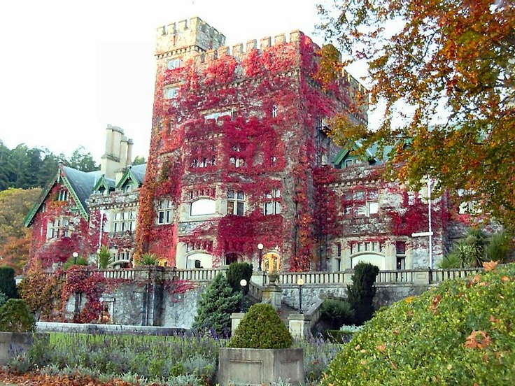 Hatley Castle, Victoria, B.C., Canada - completed in 1908 as private home for James Dunsmuir; in 1940 sold to the gov't and converted to a military academy - apparition of Mr. Dunsmuir's son, who died in WWII, is reported on the grounds - his wife has been seen inside and has been known to pull cadets right out of their beds - a lady in white is seen in the kitchen and bangs pots together often - a shadow figure walks the hallways, footsteps are heard, light anomalies