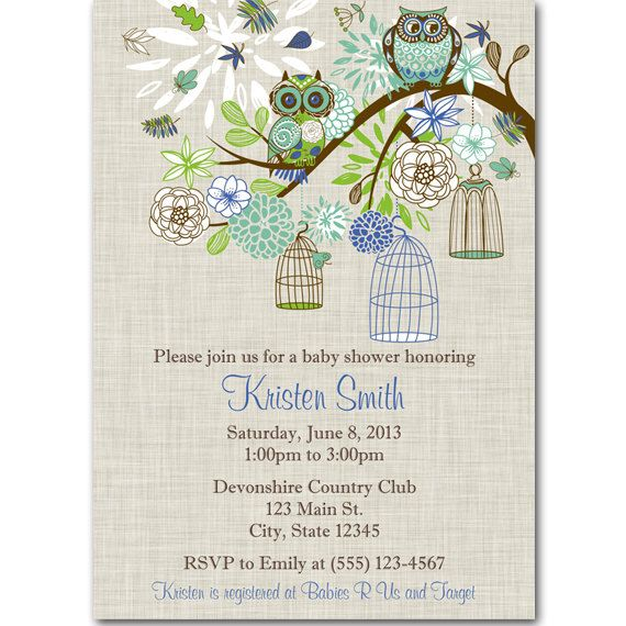 boy owl baby shower invitation twins baby by