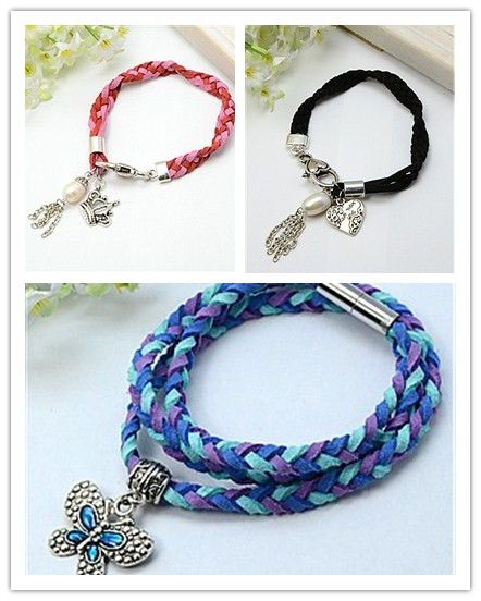 Fashion Bracelets, Faux Suede Cord with Tibetan Style Pendants