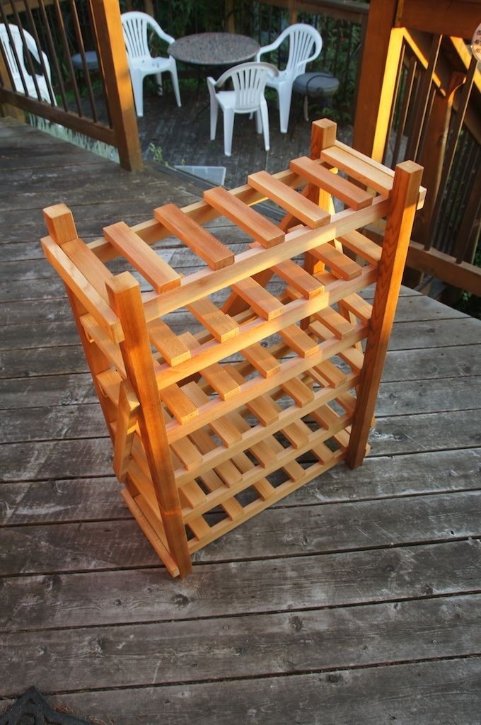 Homemade wine rack, cedar, stained, spray laquer