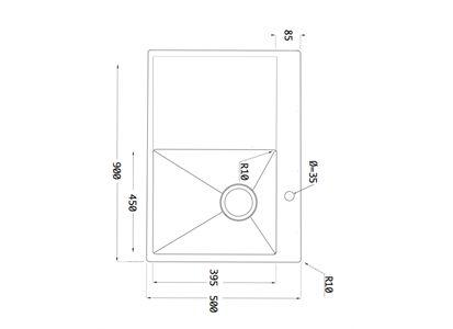 Lavabo Kubus 900 Soft Kjøkkenvask 900x500 mm. m/bl.hull, Kum høyre