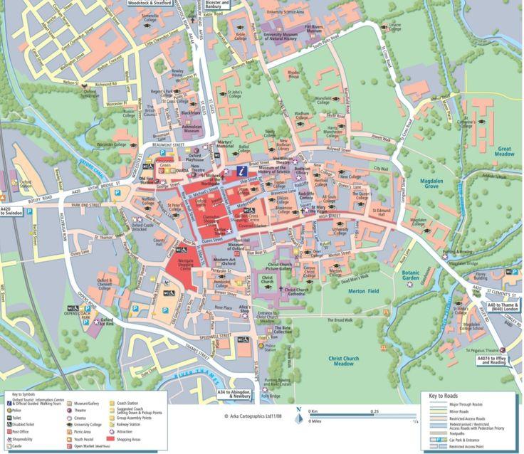 Mapa de la ciudad de Oxford, Inglaterra.