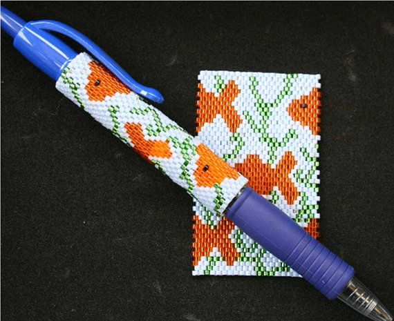 Hey, I found this really awesome Etsy listing at https://www.etsy.com/uk/listing/459832248/goldfish-even-count-peyote-pen-cover
