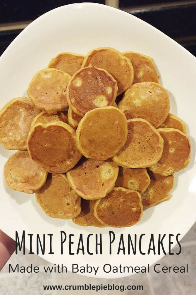 Mini Peach Pancakes Made With Baby Oatmeal Cereal - www.balancingthebaby.com
