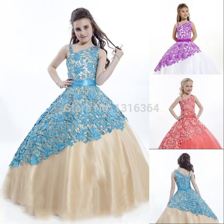 Красивые длинные платья! Специальный воротник рукавов бальные платья  изысканный прекрасным кружевом органзы детские платья купить в магазине  Suzhou Yast ...