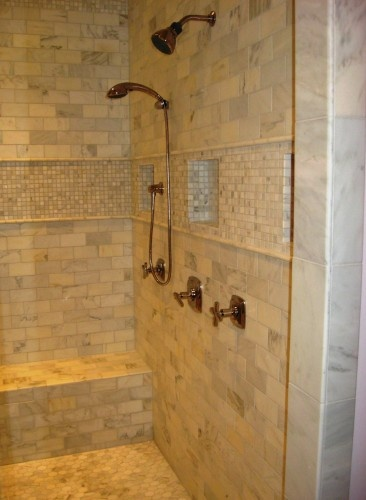 Shower Wall Pockets. Use Small Tiles For Interior, Large