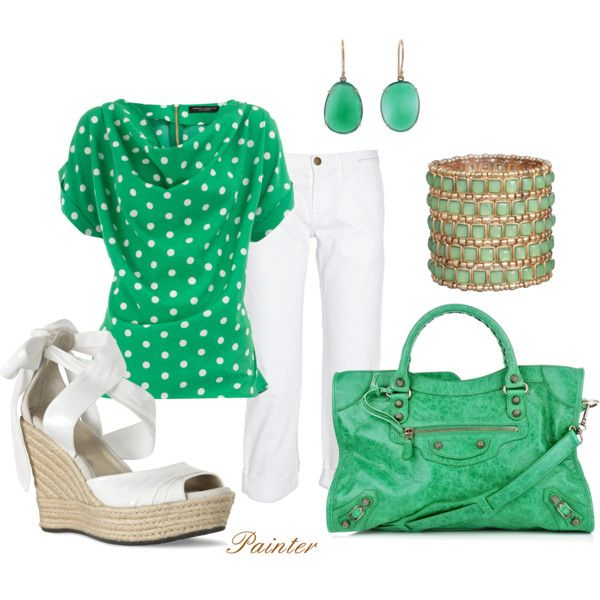 Green Onyx, created by mels777 on Polyvore: Polka Dots Tops, In Style, Fashion Style, Green Onyx, Bright Spring, Green Outfit, Spring Outfit, Shades Of Green, Adorable Outfit