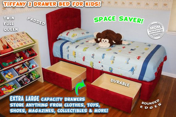 Twin or Full Kids Platform Storage Bed 2 Large Capacity Drawers Upholstered Bed Captain's Bed - Storage Bed