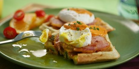 Eggs Benedict with Peameal Bacon on Scallion Waffles and Tomato Cream Recipe