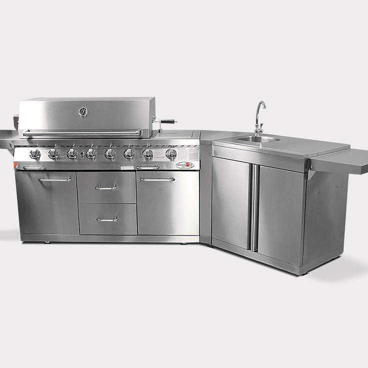 Details about new euro grille 8 burner bbq outdoor for Stainless steel outdoor kitchen