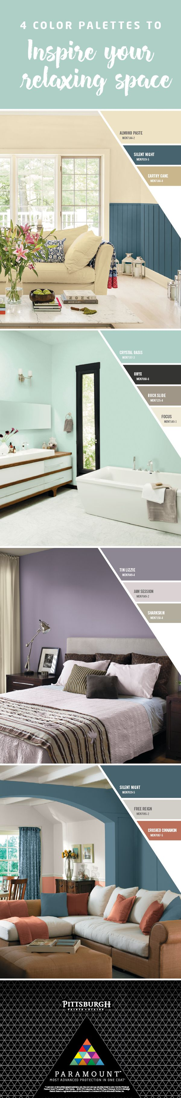 Color Palettes to Create Relaxing Spaces |The Relax Collection is designed to help you unwind, thanks to expertly selected colors that work together to create casual and cozy spaces. Use these paint colors in spaces where you go to unwind and take the edge off the day. These spaces should radiate warmth, ease and comfort. Click to explore these paint colors by Pittsburgh Paints & Stains Paramount™, exclusively at Menards®!