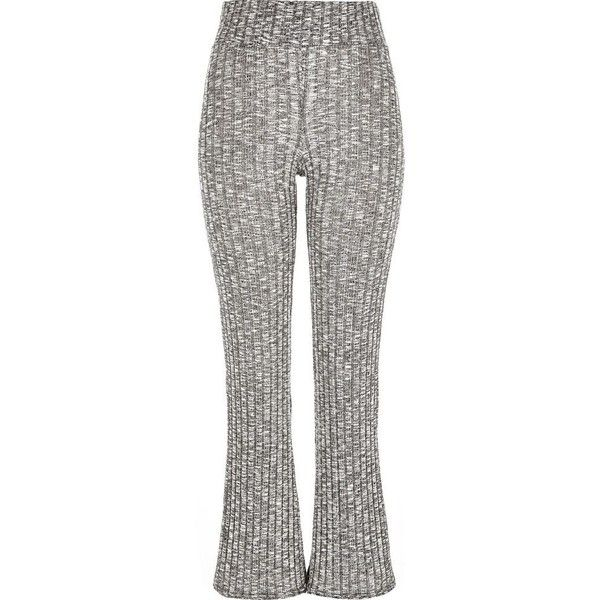 River Island Grey marl ribbed flare leggings ($56) ❤ liked on Polyvore featuring pants, leggings, flares, grey, women, grey trousers, flared leggings, flared pants, flare pants and flared trousers