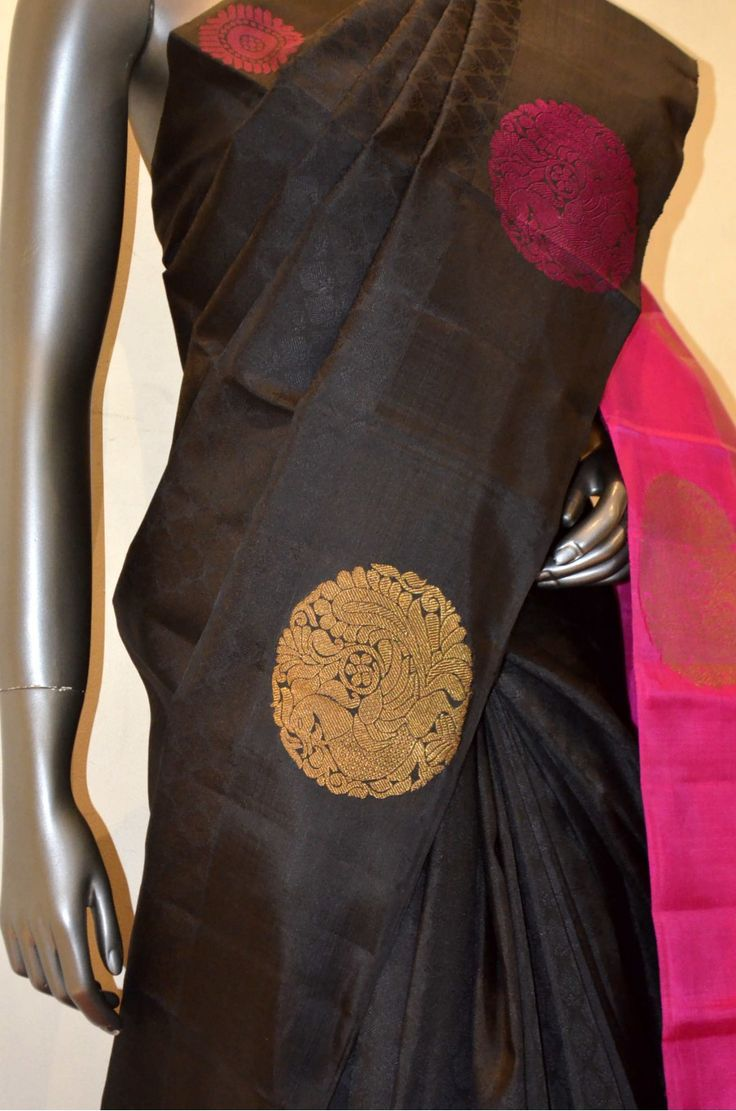 Black Hand Woven Kanjeevaram Silk With Designer Peacock Zari Butta Motif
