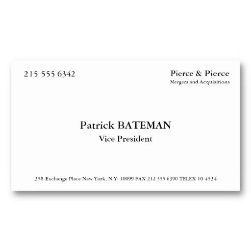 157 best american psycho images on pinterest ha ha for Patrick bateman business card template