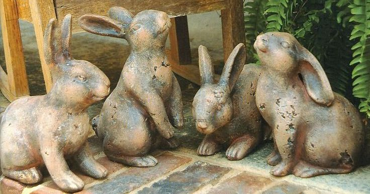 Whimsical Rabbit Statues Set how cute are these for the garden, scatter randomly on steps with pansies and violas $115 Wouldn't the dogs love them