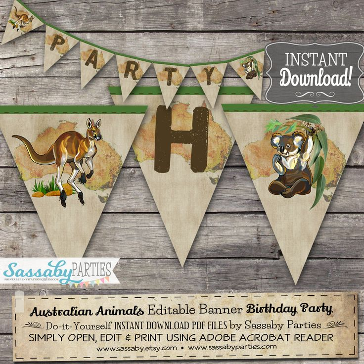 Go Wild! It's an Australian Animals Party Banner that you can edit & print yourself.