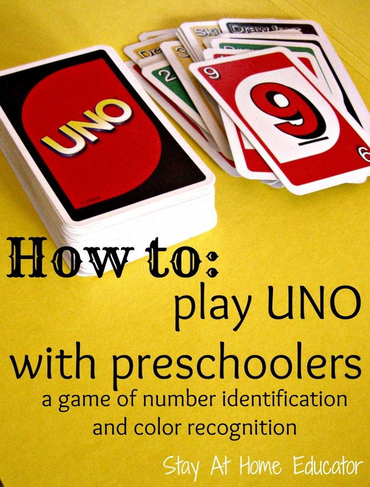 Simple UNO twist for preschoolers. Great way to teach number identification and color recognition. {Stay At Home Educator}
