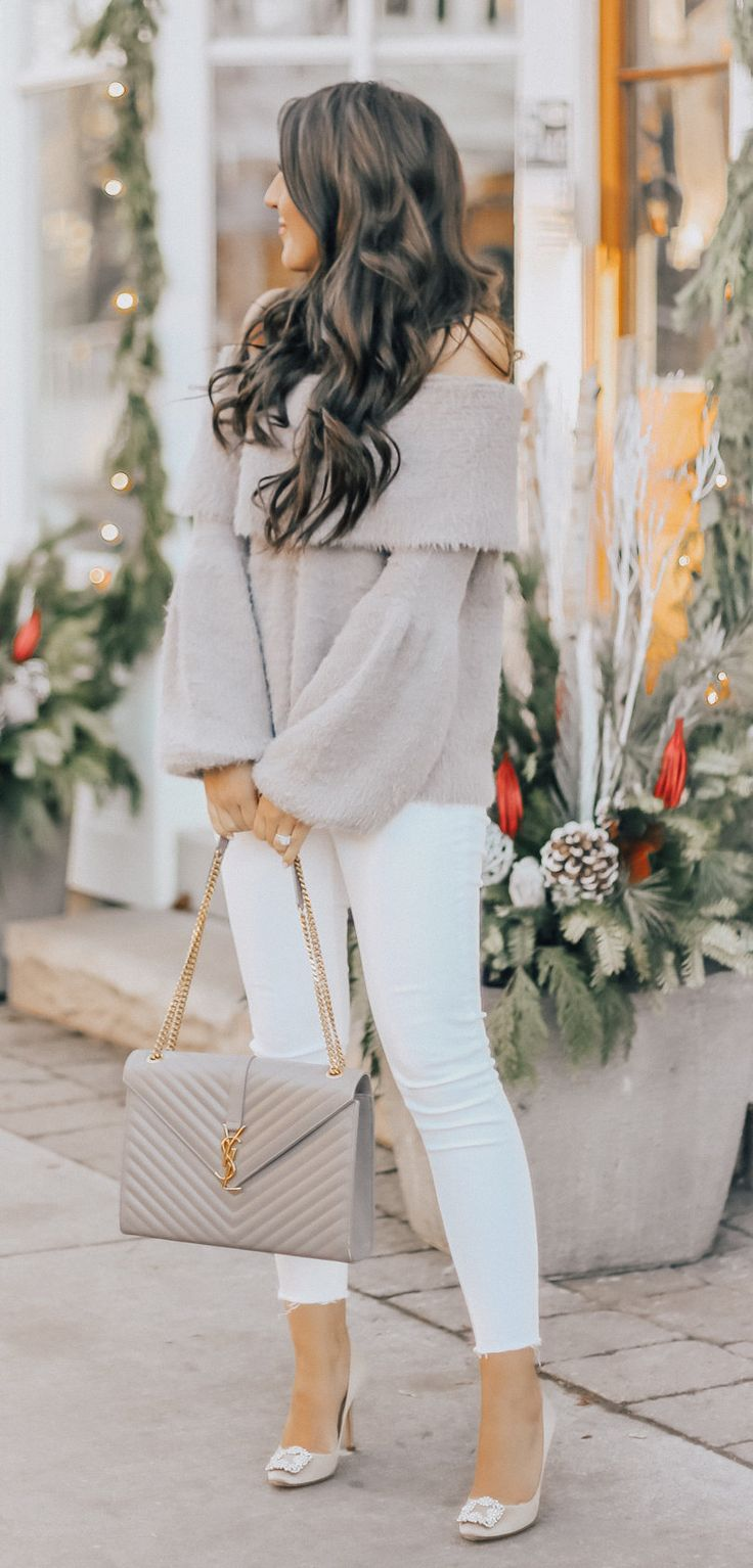 #winter #outfits gray off-shoulder sweater
