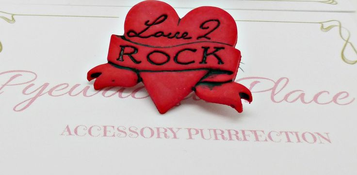 Red Love Heart Badge, Love 2 Rock Badge, Red Heart Badge, Gothic Badge, Rock Music Pin, Rock Music Badge, Rock Chick Jewellery, Punk Badge by PyewacketsPlace on Etsy